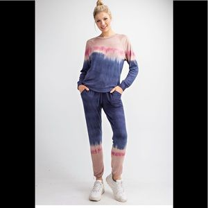 Sweatshirt Blue/Mauve Dip Dyed French Terry